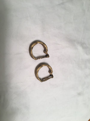 YSL Yves Saint Laurent Vintage Braided Brass Clip On Hoops