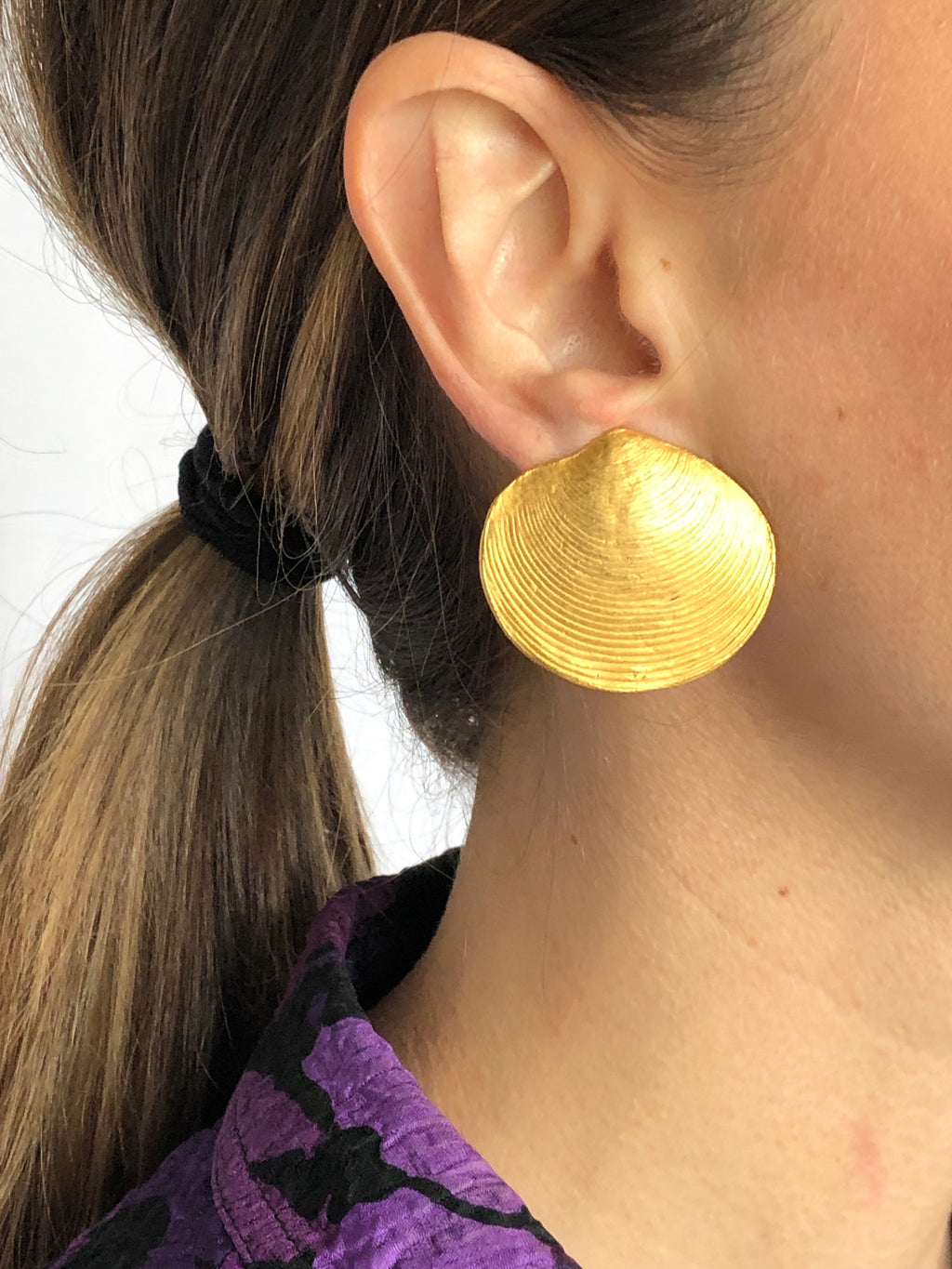 Oversized Shell Clip On Gold Earrings
