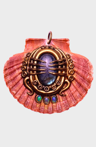 Burgandy Creature Spoon Pendant with Tiger's Eye