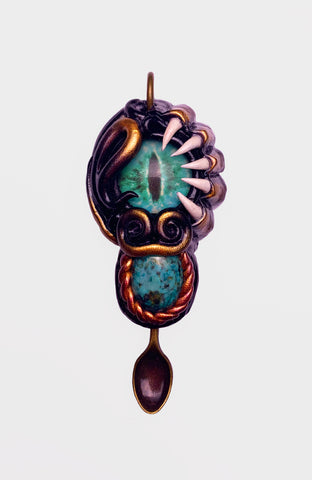 Space Creature Spoon Pendant with Turquoise Gem