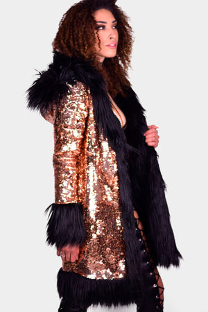 Hex Exotica Sequin and Faux Fur Coat