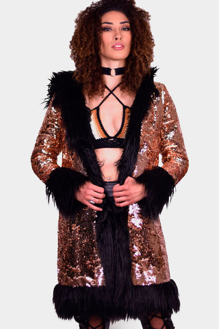 Disco Penny Lane Sequin and Faux Fur Coat