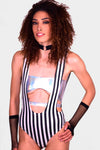 Cosmic Flow Striped Suspender Bodysuit