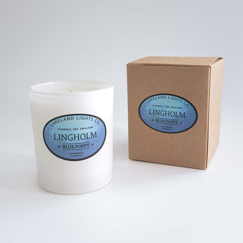 Our LINGHOLM BLUE POPPY luxury scented soy candle