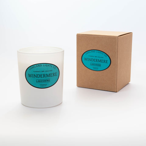 Our WINDERMERE LAKESHORE 100% soy wax scented candle