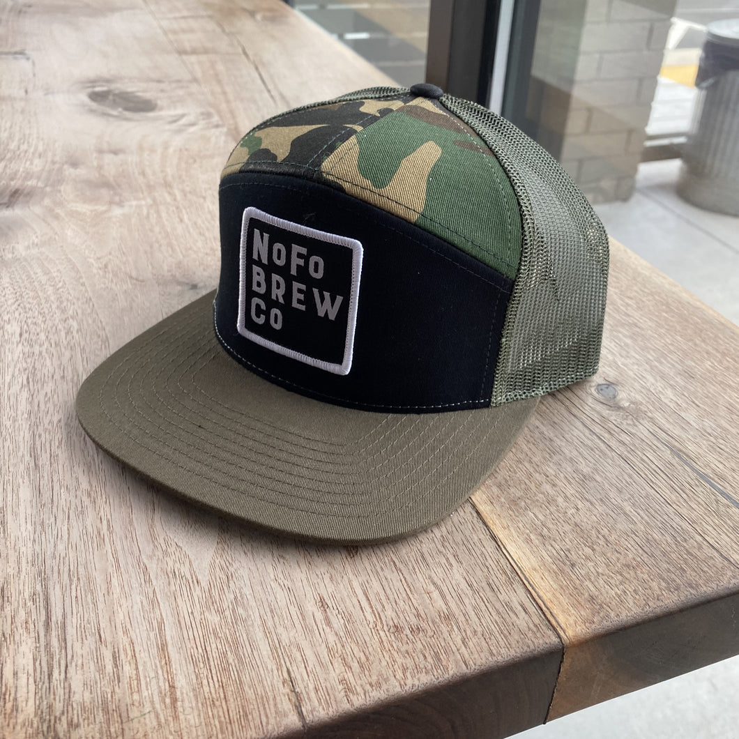 Black & Green Camo 7 Panel Hat w/ Square Patch