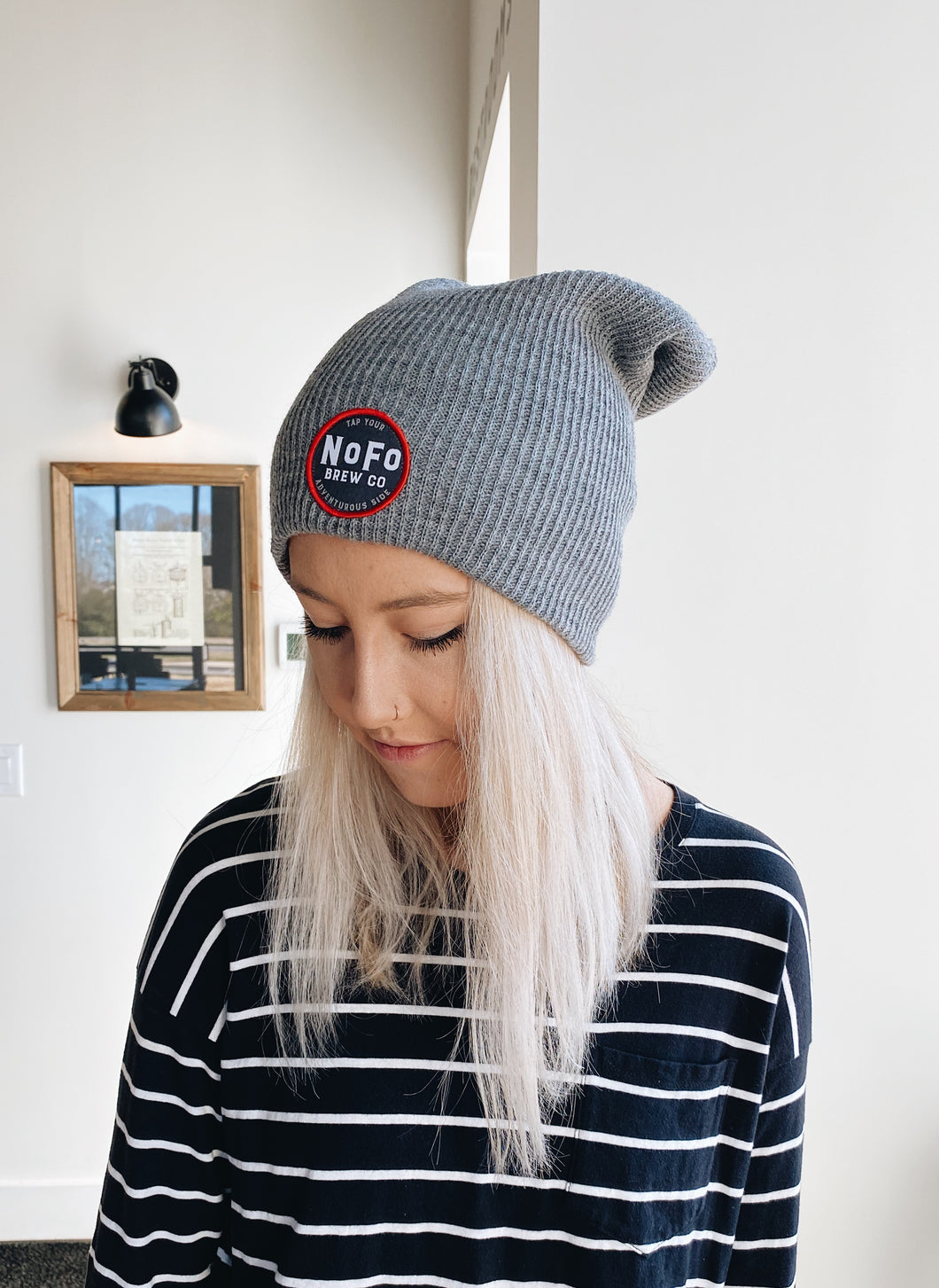 Gray Beanie Cap with Round Red and Black Logo