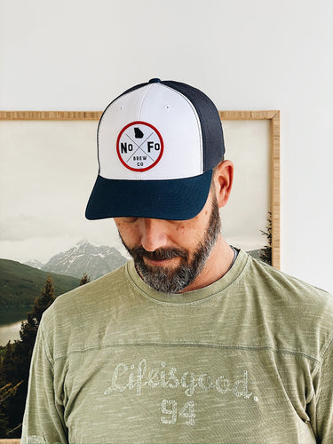 Navy & White with Circle Logo Trucker Hat