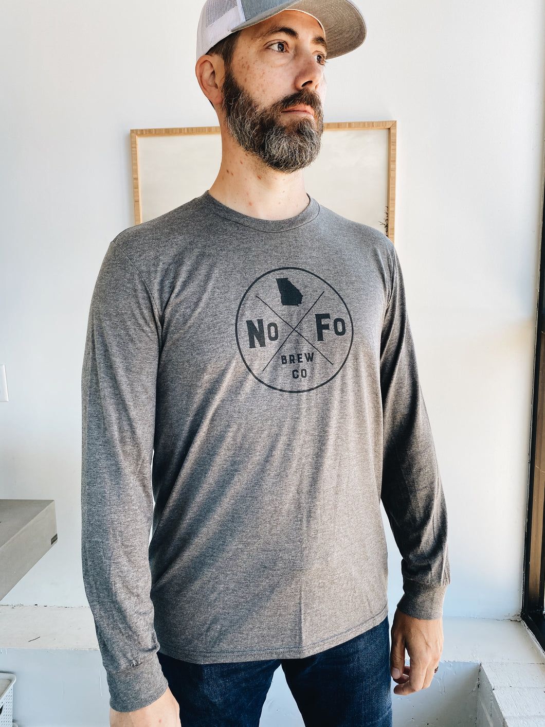 Gray Long Sleeve Compass Logo Shirt