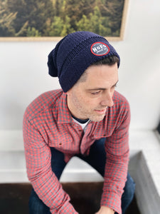 Navy Blue Beanie with Red and Black Round Logo