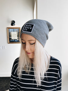 Gray Beanie Cap with Black Square Logo