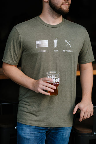 Freedom + Beer + Adventure Olive Green Shirt