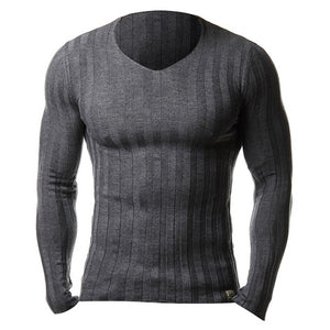 Knitted Tshirt Men Slim Fit Sweater Casual Tee Shirt Pullover V Neck Knitting T-shirt Fashion Solid Warm Top Plus Size 3XL 2019