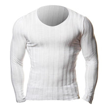 Load image into Gallery viewer, Knitted Tshirt Men Slim Fit Sweater Casual Tee Shirt Pullover V Neck Knitting T-shirt Fashion Solid Warm Top Plus Size 3XL 2019