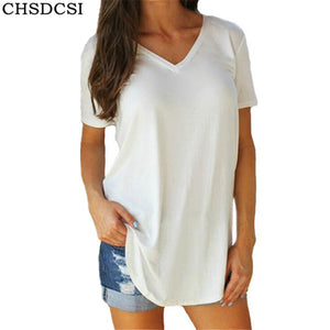 CHSDCSI Plus Size Women's Clothing T-shirt Big Size tshirt Women Tops Solid V Neck Short Sleeve Long Casual Tee Shirt Top Femme