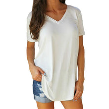 Load image into Gallery viewer, CHSDCSI Women Tops Solid V Neck Short Sleeve Long Casual Tee Shirt Top Femme Plus Size Women's Clothing T-shirt Big Size Tshirt
