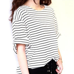 2018 Fashion Tshirts Femme Women's Fashion T-shirt Casual Loose Striped Black/White Vintage Tops Tee