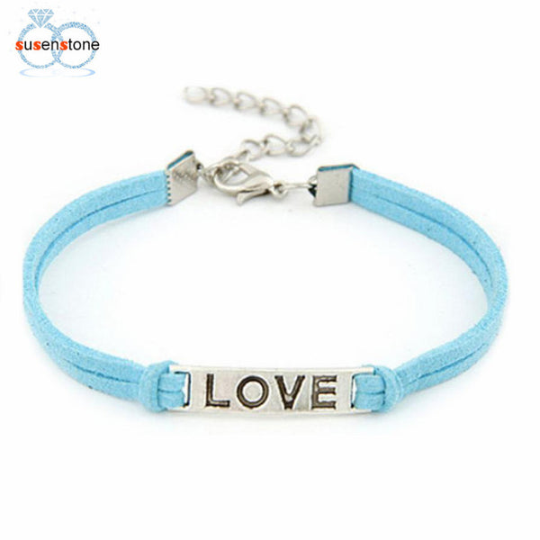 SUSENSTONE 1PC Braided Adjustable Leather  Bracelet  Alloy Rope Charm Jewelry Weave Bracelet