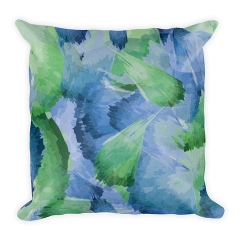 Abstract Leaf Pattern Watercolor Premium throw Pillow