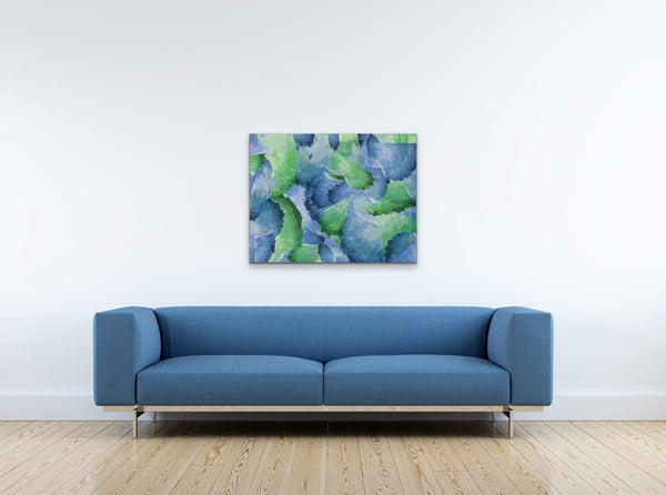Abstract Leaf Pattern Watercolor Canvas Print