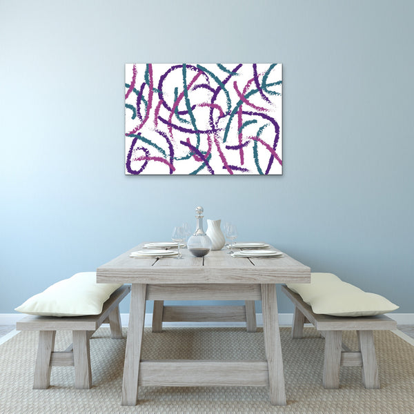 Abstract Brush Strokes Canvas Print Purple Pink Teal