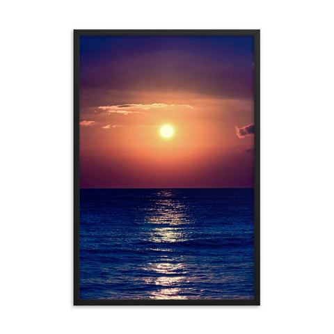 Purple Sunset Photo Framed Print Colorful Home Decor