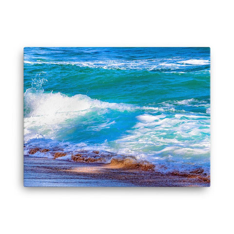 Waves Crashing Ocean Water Canvas Print Colorful Home Decor