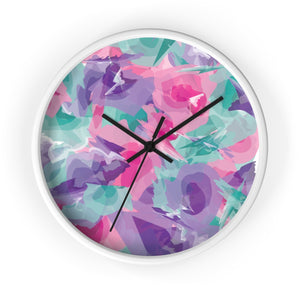 Abstract Watercolor Wall Clock - Purple, Pink, Teal