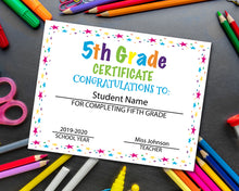 Load image into Gallery viewer, Fifth Grade Diploma Certificate - 5th Grade
