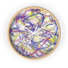 Load image into Gallery viewer, Abstract Thin Brush Wall Clock - Pink, Blue, Neon Green