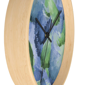 Leaf Pattern Blue & Green Wall Clock