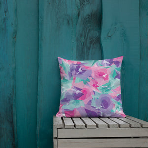 Abstract Watercolor Premium Pillow - Pink Purple Aqua
