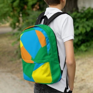 Shapes Overlay Pattern Backpack - Orange, Blue, Yellow