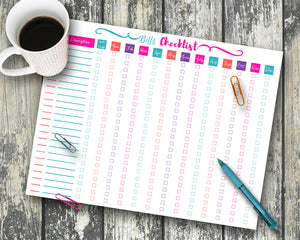 Monthly Bills Checklist - EDITABLE- Digital Download