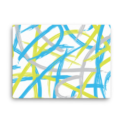 Abstract Brush Strokes Blue, Green, Gray Canvas Print