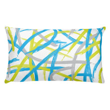 Load image into Gallery viewer, Abstract Brush Strokes Pillow - Blue, Green, Gray