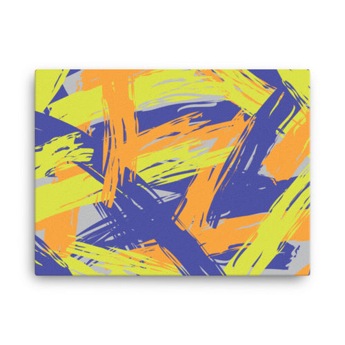 Abstract Colorful Brush Strokes Canvas - Orange, Blue, Lime Green, Gray