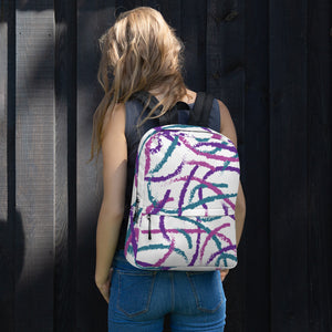 Brush Strokes Backpack - Purple, Teal, Pink