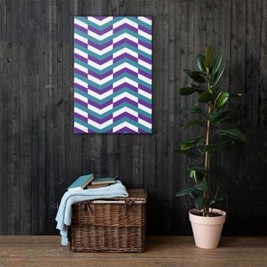 Chevron Pattern Canvas - Teal, Purple, White