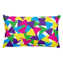 Load image into Gallery viewer, Colorful Abstract Triangles Throw Pillow - Bright Colors