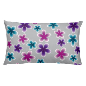 Colorful Flowers Throw Pillow - Gray, Pink, Purple, Blue