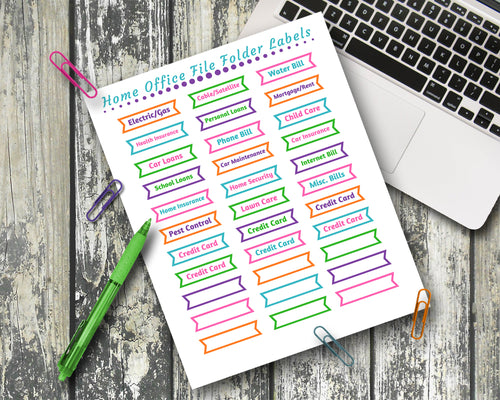 Home Office Labels EDITABLE - File Folder Labels - Digital Download
