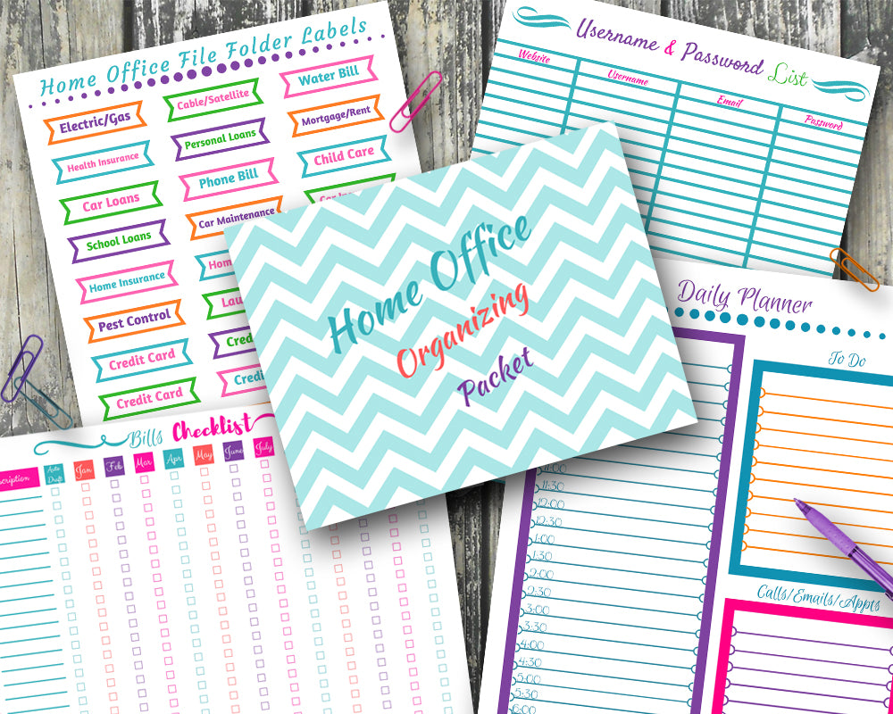 Home Office Organization Bundle EDITABLE - File Folder Labels, Bills Checklist, and More