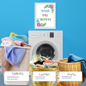 Laundry Sorting Labels & Laundry Room Decor Bundle