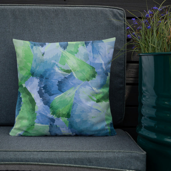 Blue Green Leaf Pattern Throw Pillow