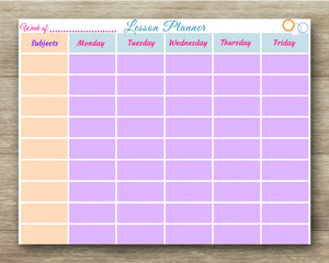 School Lesson Planner - Schedule - Teacher/Homeschool