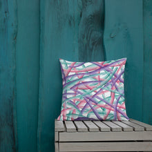 Load image into Gallery viewer, Abstract Multi Color Brush Strokes Premium Pillow - Pink Purple Teal