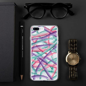 Colorful Brush Strokes Pattern iPhone Case - Purple Pink Teal