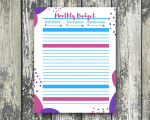 Monthly Budget Planner - EDITABLE - Pink, Purple, Blue