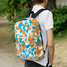Load image into Gallery viewer, Paint Splatter Backpack - Orange & Blue